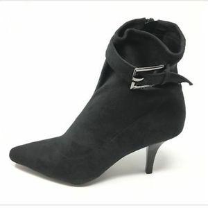 BCBG faux suede black sock ankle booties